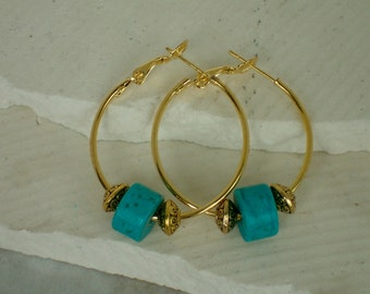 Brass Hoops with Turquoise Gemstone Earrings