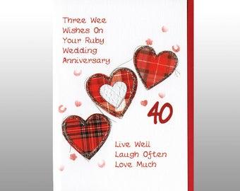 Ruby Anniversary Three Hearts Card WWWE29