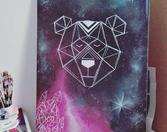 Bear canvas geometric/Galaxy/crystals