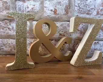 Glitter letters Wedding or engagement gift  personalised wooden initials