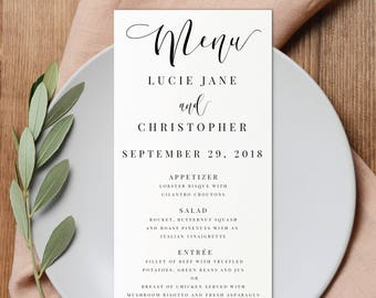 Wedding Menu-Printable-Instant Download-Editable PDF-DIY Menu Template-Digital Calligraphy Template-Printable Wedding Menu-#SN015_M
