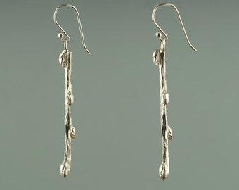 Willow Earring, Twig Dangle Earrings, Twig Jewelry,  Willow Branch Earring, Silver, Branch Earrings, Twig Earring, Silver Dangle Earring