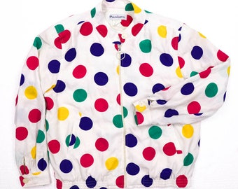 Vintage 80s 90s Patchington multi color polka dot Windbreaker Jacket