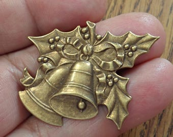 one VINTAGE Rare Brass stamping large Christmas Jewelry Findings /U20