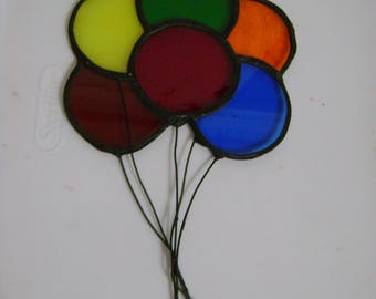 vintage stained glass balloons sun catcher window ornament metal frame