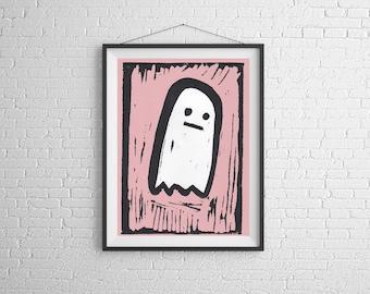 Ghost,Little Ghost,dead,linocut,print making,Print, Artwork, Painting,Decor,Surreal,Art,geek,ink