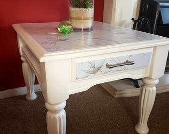 Up-cycled end/coffee table, refurbished, hand-painted and decopatched.