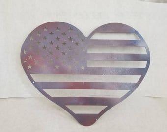 American flag heart   home decor metal sign