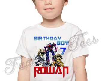 Transformers Birthday Shirt Add Name & Age Transformers Custom Birthday Party TShirt A