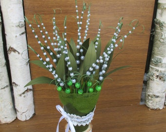 Pearl bead bouquet, lilly of the valley bouquet,bridal bouquet,wedding bouquet,bridesmaid bouquet,spring wedding bouquet,alternative bouquet