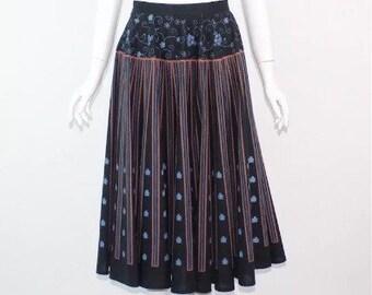 Vintage 80's Black & Blue long skirt Size 8/10