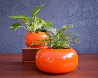 vintage Maili pottery orange planter