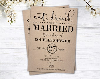couples shower invitation couples shower invite eat drink and soon to be married