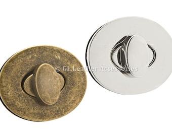 Oval Metal Bag Purse Twist Turn Lock 4.4cm x 3.7cm