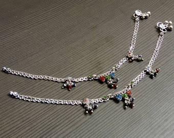 Indian Tribal anklets | Women's payal anklet | Colored stone anklets | Birthday gift jewelry for sister | Anniversary gift for wife | A136