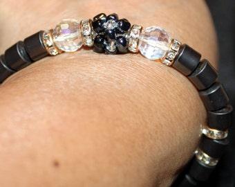 Hematite & crystal beaded shamballa bracelet; handmade, beautiful, beadweaving, black and white