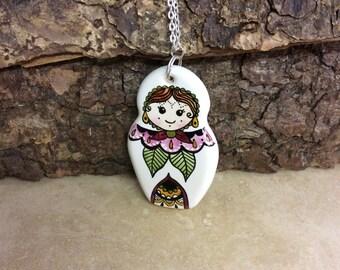 Handmade ceramic 'Modified Matryoshka Doll' style necklace