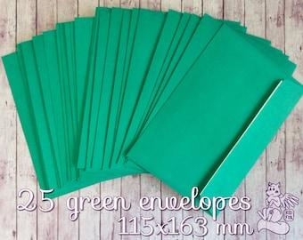25 green envelopes in set! 115x163 mm A6 postal envelopes with adhesive strip