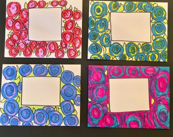 4 Blank Notecards/ Decorated Envelopes/Mail Art
