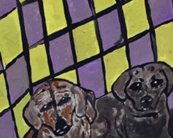 Doggy dog world. Acrylic painting on 8x10 canvas. For sale by Jonathon Hansen