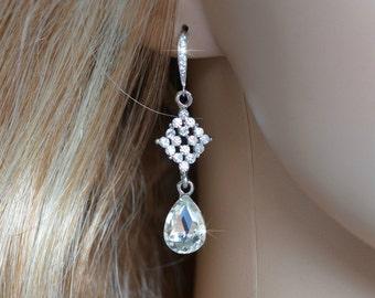 Pretty Clear Crystal Rhinestone Dangle Earrings, Wedding, Bridal (Sparkle-970)