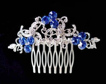 "Vintage Inspired ""Something Blue"" Crystal Rhinestone Hair Comb, Wedding, Bridal (Sparkle-2467)"