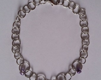 Purple Beaded Chain Bracelet or Anklet
