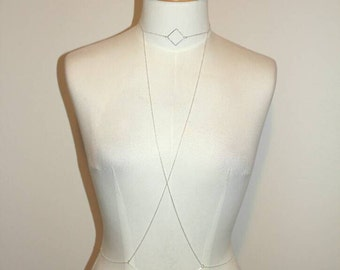 Silver body chain,  diamond charm