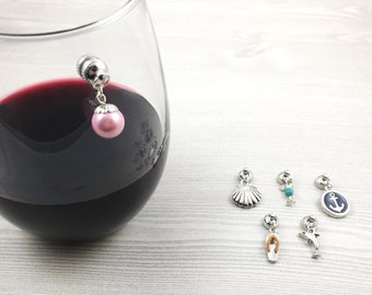 6 Beach Wine Charms, Nautical Wine Charms, Stemless Wine Glass Charms, Summer Wine Charms, Wine Lovers Gift, Gift for Her, Wine Accessories