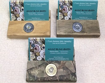 Shotgun Shell Or Bullet Business Card Holder In Camo Or Stained Wood