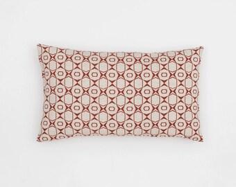 Petek Handscreen Printed Cushion Cover - Indian Rust 30x50cm