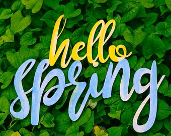 Hello Spring Wood Sign Decor for Home or Office for Spring Season