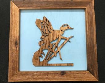 Duck Framed Wooden Scroll Cut Art