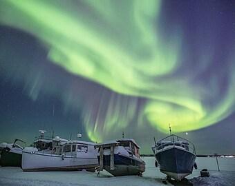 Boats under the Aurora
