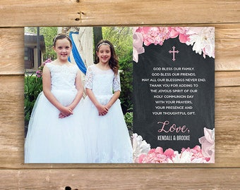 Floral First Holy Communion Thank You, Communion thank you, Baptism thank you, Girl, Cross, Flower, Chalkboard, printable, instant download