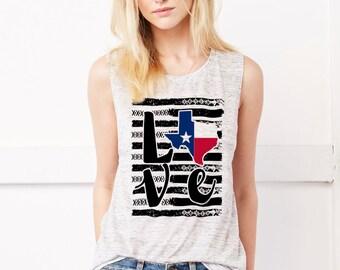 Love Texas Flowy Scoop Muscle Tank