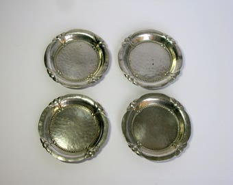 Vintage Swedish / Pewter Coasters / Set of Four / Scandinavian / Small Metal Coasters / Plates / Snack dishes / Lot of 4 / circa 1930,s