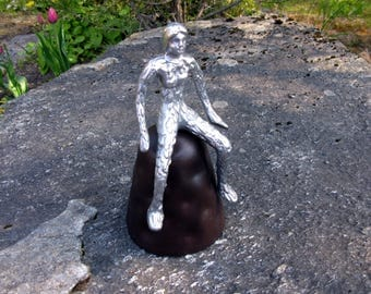 "Metal Sculpture / Figurine / 9"" / Metal Arts / Vintage / Hand Made / Woman Sculpture / Nude Woman / Modern / Cast Aluminum On Iron Stand"