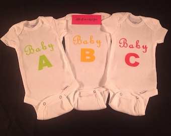 Triplet onesies etsy baby a baby b baby c triplets unisex baby oneies for boy or girl cute customized negle Images