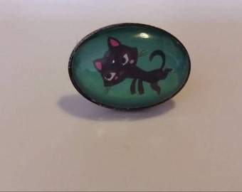 Ring oval black cat