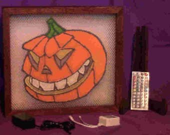 Oak Framed Evil Pumpkin Light Box