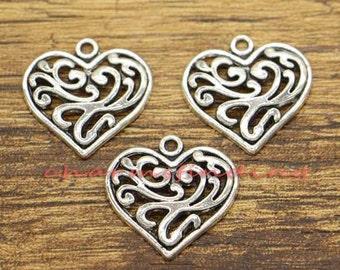 30pcs Heart Charm Vintage Scroll Charm Hollow Heart Charm Antique Silver Tone 21x21mm cf2073