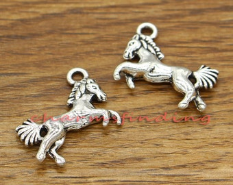 20pcs Horse Charms Animal Charms Antique Silver Tone 16x19mm cf1522