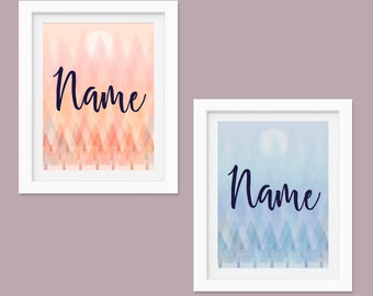 "Personalised Double Layer Framed Forest Pink or Blue Print, 8"" x 10"", Nursery Art, Customisable Print"