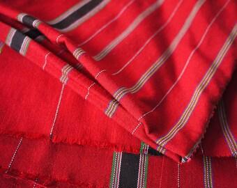 Karen Hilltribe Handwoven red cotton textile fabric - Fairtrade textile