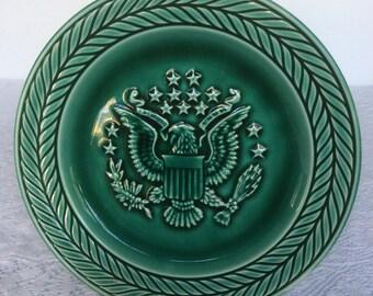 "Set 4 Vintage Green Eagle 7.25"" Plates"