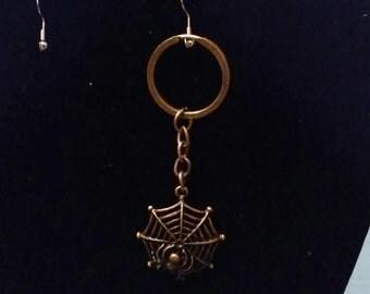 Bronze spiderweb keychains
