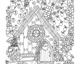 A Gnome Home, 1 Adult Coloring Book Page, Printable Instant Download, Karen Lukens