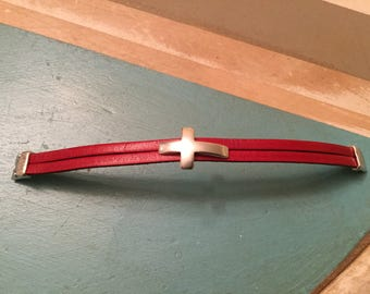 Red Leather and Sterling Silver Cross bracelet