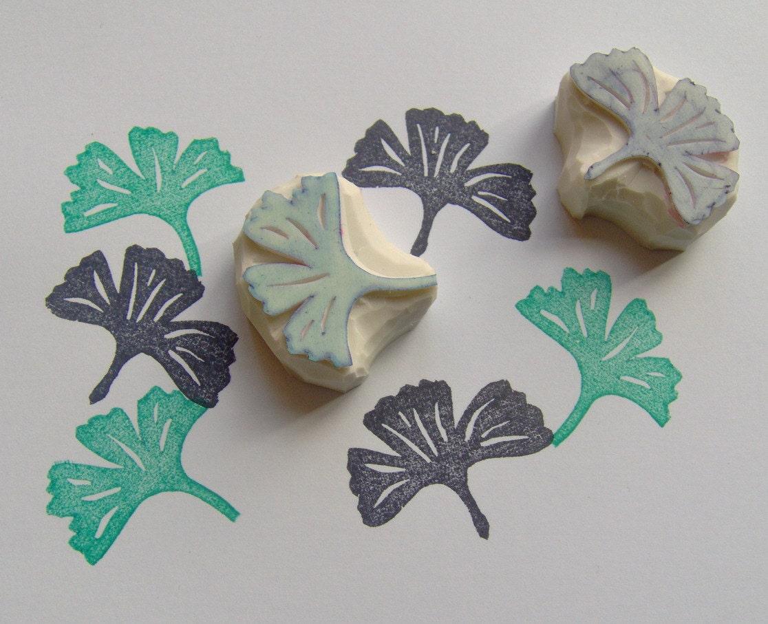 Ginkgo Leaf Stamp Set Of 2 Rubber Stamp Ginkgo Biloba Diy